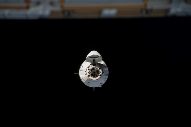 The SpaceX Crew Dragon spacecraft as it approaches the International Space Station for a docking
