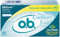 """<p>It's safe to call the <span>O.B. Pro Comfort tampons</span> ($6 for a pack of 40) the original compact tampons, as they don't feature an applicator at all. Tiny enough to fit in your smallest wristlet or sweatshirt pocket, they'll help you minimize your plastic usage. These applicator-free tampons also feature a """"finger pocket"""" that makes inserting these tampons even easier. </p>"""