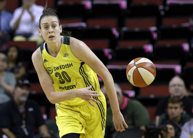 "<a class=""link rapid-noclick-resp"" href=""/olympics/rio-2016/a/1128563/"" data-ylk=""slk:Breanna Stewart"">Breanna Stewart</a> made the WNBA All-Star team in her second season on the <a class=""link rapid-noclick-resp"" href=""/wnba/teams/sea/"" data-ylk=""slk:Seattle Storm"">Seattle Storm</a>. (AP)"