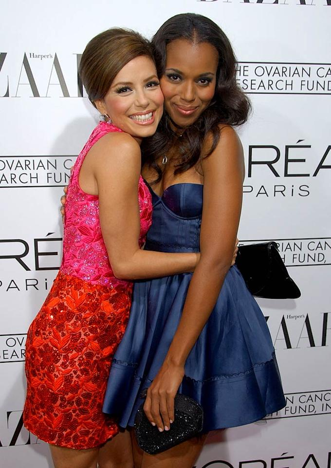 "L'Oreal spokesmodels Eva Longoria and Kerry Washington pose cheek to cheek at ""A Night of Hope."" The event, presented by L'Oreal Paris in celebration with Harper's Bazaar, benefits The Ovarian Cancer Research Fund. Gregg DeGuire/<a href=""http://www.wireimage.com"" target=""new"">WireImage.com</a> - November 7, 2007"
