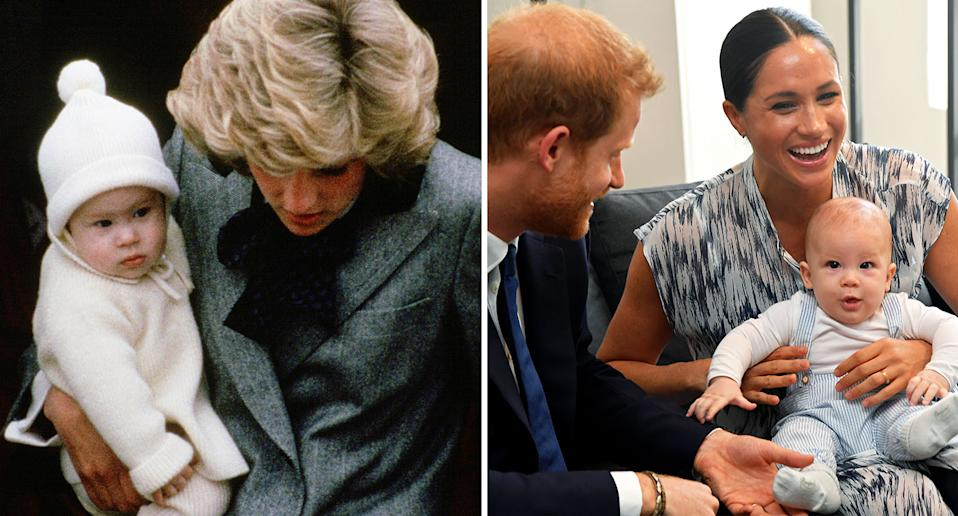 Prince Harry as a baby, pictured left, with late mother Princess Diana in 1985, and baby Archie with parents Meghan Markle and Prince Harry today. [Photo: Getty]
