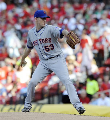 New York Mets' starting pitcher Jeremy Hefner throws against the St. Louis Cardinals in the first inning in a baseball game Monday, May 13, 2013, at Busch Stadium in St. Louis. (AP Photo/Bill Boyce)