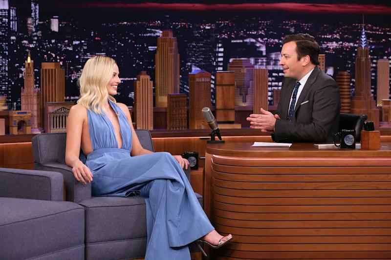 THE TONIGHT SHOW STARRING JIMMY FALLON -- Episode 1202 -- Pictured: (l-r) Actress Margot Robbie during an interview with host Jimmy Fallon on February 4, 2020 -- (Photo by: Andrew Lipovsky/NBC/NBCU Photo Bank via Getty Images)