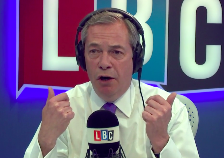 Mr Farage was replying to a caller on his radio show (Picture: LBC)