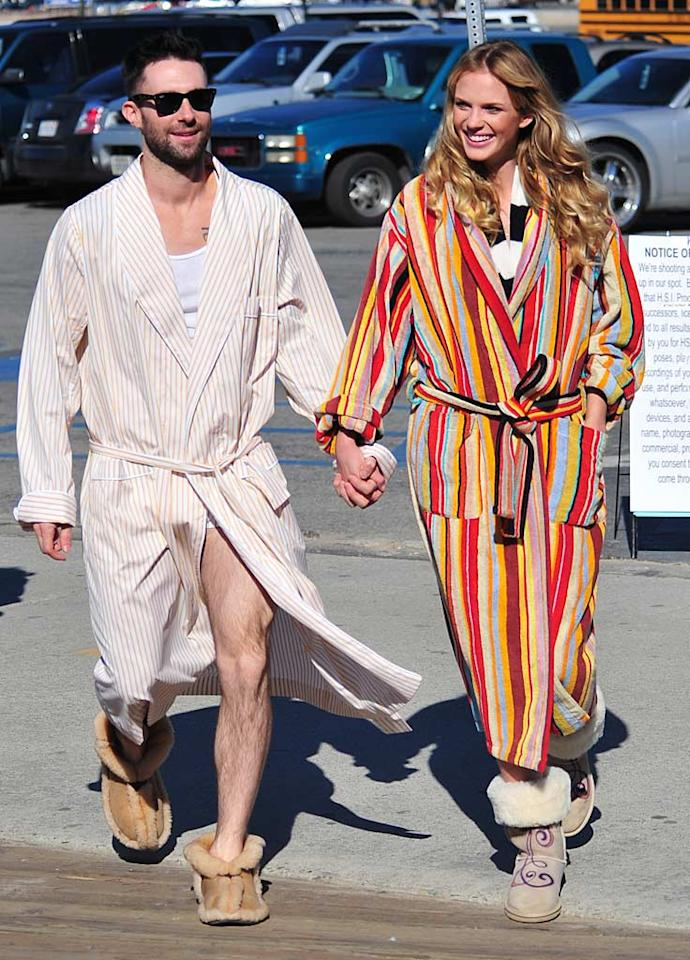 "Adam Levine and his gorgeous model girlfriend Anne Vyalitsyna were all smiles while walking hand in hand on their way to shoot a music video for Maroon 5 in Santa Monica, California, Wednesday. <a href=""http://www.splashnewsonline.com/"" target=""new"">Splash News</a> - January 12, 2011"