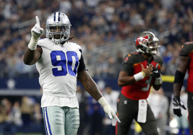 Dallas Cowboys defensive end DeMarcus Lawrence (90) has interesting thoughts about opposing quarterbacks. (AP)