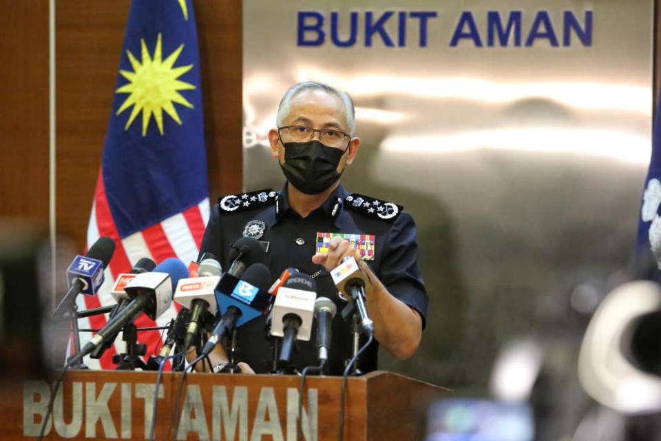 Inspector-General of Police (IGP) Datuk Seri Acryl Sani Abdullah Sani speaks during a press conference on the enforcement MCO 3.0 SOP in Bukit Aman May 31, 2021. — Picture by Choo Choy May