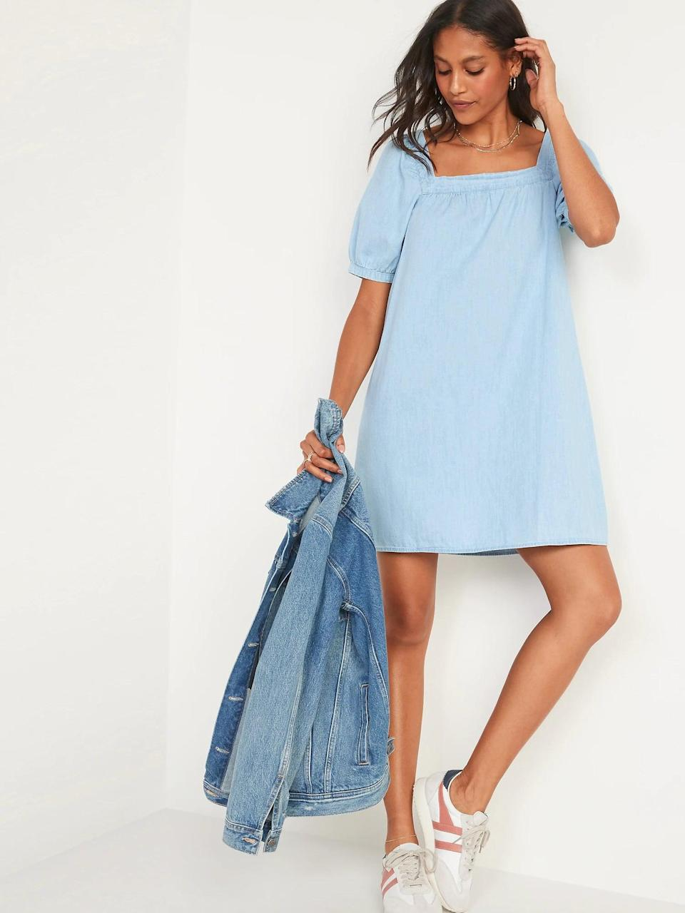 <p>The <span>Puff-Sleeve Light-Wash Jean Mini Swing Dress for Women</span> ($45) also pairs perfectly with a denim jacket - a major win!</p>