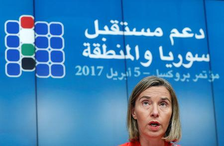 European Union foreign policy chief Federica Mogherini takes part in a joint news conference during an international conference on the future of Syria and the region in Brussels