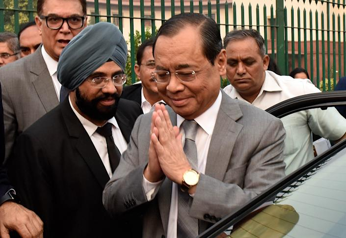 NEW DELHI, INDIA  NOVEMBER 15: Outgoing Chief Justice of India Ranjan Gogoi arrives to attend his farewell function organised by BAR association of India, at Supreme Court lawn, on November 15, 2019 in New Delhi, India. On his last day at work, Chief Justice of India Ranjan Gogoi sat in court no. 1 for 4 minutes with his successor SA Bobde by his side, issued notices in all ten cases presented before him and penned a note where he spoke of the judiciarys need to maintain silence while exercising their freedom. After a hectic week where he decided landmark cases such as the Ayodhya title dispute, Rafale defence deal, entry of women into Sabarimala tempole and bringing CJI in RTI Act ambit, the Chief Justice retires on November 17. (Photo by Mohd Zakir/Hindustan Times via Getty Images)