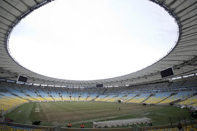 View of the Maracana stadium during a press tour, in Rio de Janeiro, Brazil, Monday, May 26, 2014. Brazil will host the World Cup soccer tournament starting on 12 June and Maracana stadium will host the World Cup Final match on July 13. (AP Photo/Silvia Izquierdo)