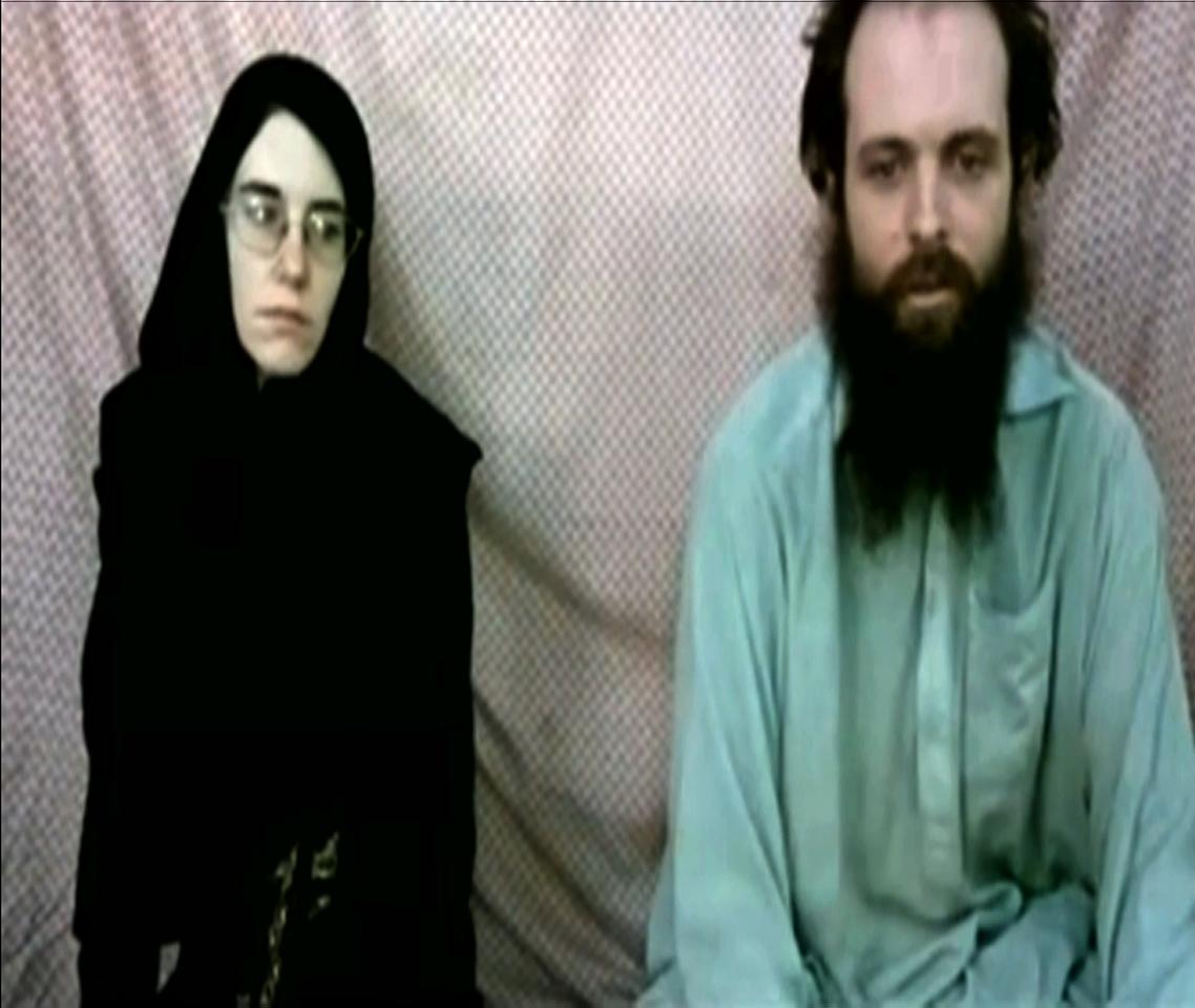 This frame grab from video provided by the Coleman family shows Caitlan Coleman and Joshua Boyle. The family of a then-pregnant American woman who went missing in Afghanistan in late 2012 with her Canadian husband received two videos last year in which the couple asked the U.S. government to help free them from their Taliban captors, The Associated Press has learned. The videos offer the first and only clue about what happened to Caitlan Coleman and Joshua Boyle after they lost touch with their family 20 months ago while traveling in a mountainous region near the capital, Kabul. U.S. law enforcement officials investigating the couple's disappearance consider the videos authentic but caution that they hold limited investigative value, since it's not clear when or where they were filmed. (AP Photo/Coleman Family)