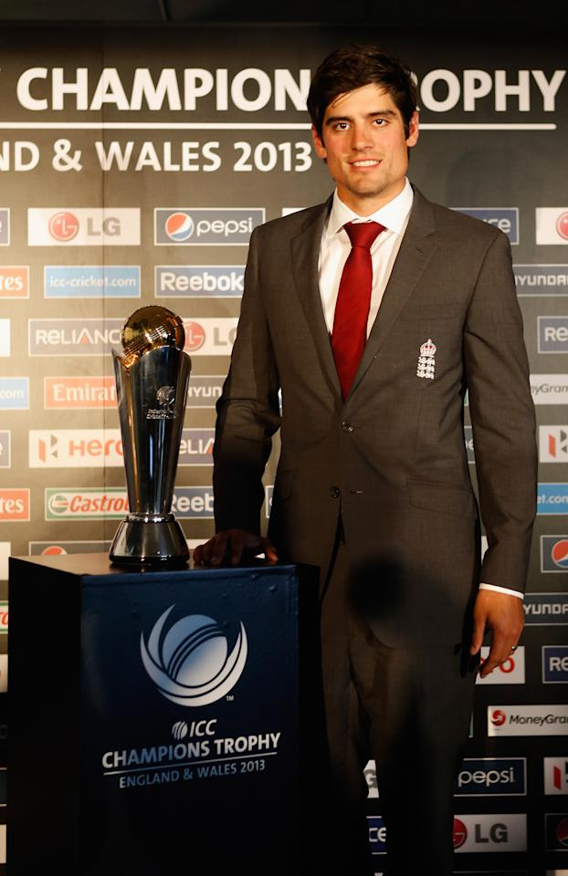 LONDON, ENGLAND - OCTOBER 17:  Alastair Cook of England poses with the trophy during the launch of the ICC Champions Trophy 2013 which is to be held in June 2013 in England and Wales, at Millbank Tower on October 17, 2012 in London, England.  (Photo by Tom Shaw/Getty Images)