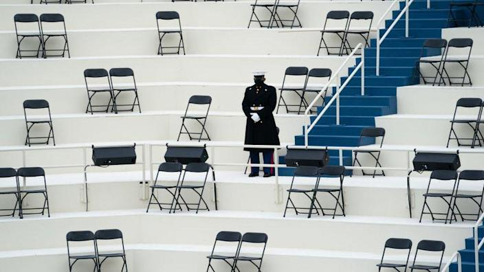 Chairs are arranged to allow for social distancing at the inauguration rehearsal