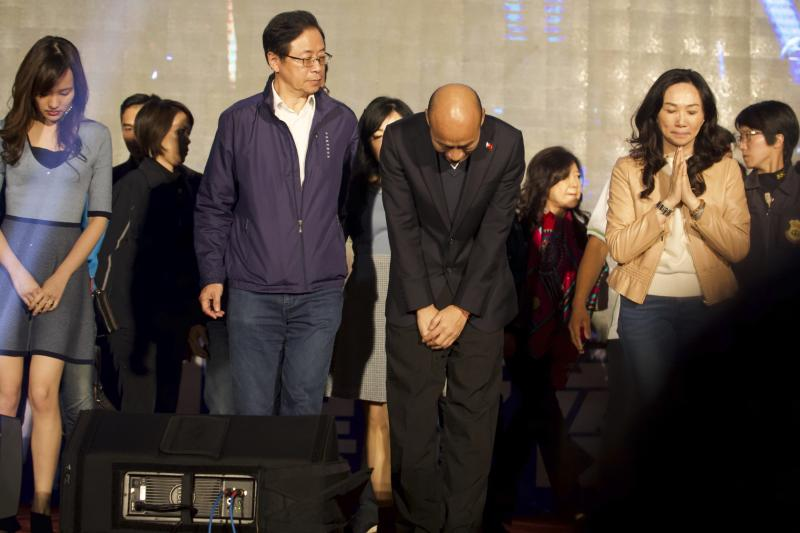 Nationalist or KMT party candidate Han Kuo-yu Han bows as he arrives on stage to concede defeat in Kaohsiung, Taiwan, Saturday, Jan. 11, 2020. Taiwanese President Tsai Ing-wen has won a second term, signaling strong voter support for her tough stance against China. Voters chose Tsai's tough stance against China over Han's arguments for friendlier ties with Beijing, which considers self-governing Taiwan a renegade province to be brought under its control, by force if necessary. (AP Photo/Ng Han Guan)