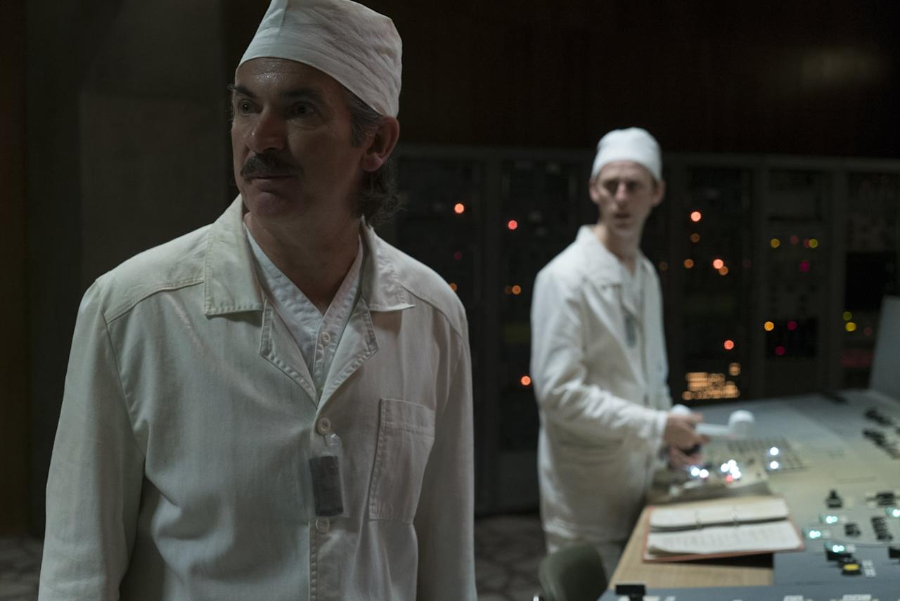 "<p>Portrayed by actor Paul Ritter (pictured on the left), Anatoly Dyatlov was Chernobyl's deputy chief engineer who looked over the fatal experiment and was exposed to a dangerous amount of radiation himself. In 1987, the scientist <a href=""http://www.latimes.com/archives/la-xpm-1987-07-29-mn-4448-story.html"" target=""_blank"">was sentenced to 10 years</a> for criminal negligence, though he was let out on early release.</p> <p>On the official record, Dyatlov wanted to complete an experiment ordered by Moscow, so he intimidated his workers into taking risks that led to the destruction of the reactor. But <a href=""http://www.washingtonpost.com/archive/politics/1992/04/27/chernobyls-shameless-lies/96230408-084a-48dd-9236-e3e61cbe41da/?noredirect=on&amp;utm_term=.0c4bfa705c68"" style=""background-color: rgb(255, 255, 255);"" target=""_blank"">he believed that he was a scapegoat</a> and that it was poor reactor design that caused the disaster rather than his experiment. He contends that the investigation was carried out by the people who were responsible for the design of the reactor.</p>"
