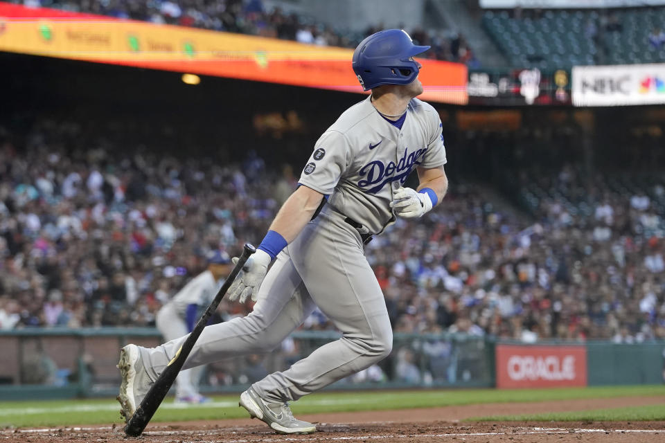 Los Angeles Dodgers' Billy McKinney watches his RBI single against the San Francisco Giants during the fifth inning of a baseball game in San Francisco, Tuesday, July 27, 2021. (AP Photo/Jeff Chiu)