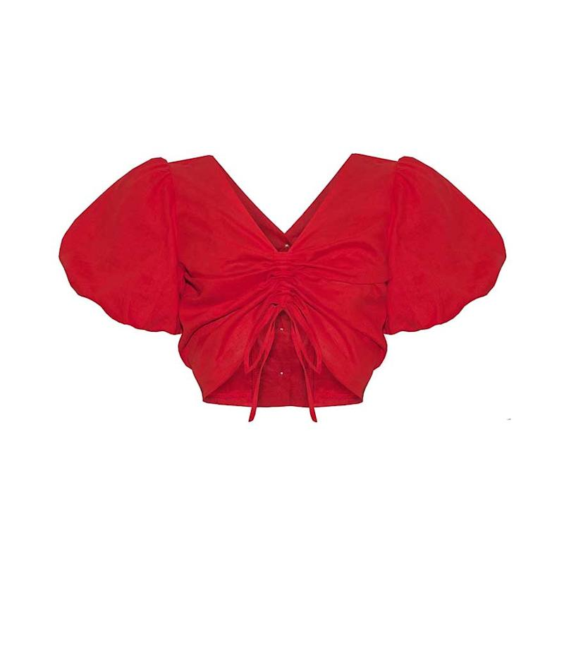 Red bubble sleeve v-neck crop top.