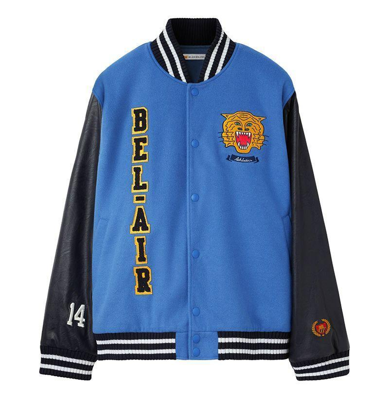"<p><strong>Bel-Air</strong></p><p>belairathletics.com</p><p><strong>$695.00</strong></p><p><a href=""https://belairathletics.com/collections/all/products/bel-air-banner-varsity-jacket-29belh01r185"" rel=""nofollow noopener"" target=""_blank"" data-ylk=""slk:Buy"" class=""link rapid-noclick-resp"">Buy</a></p><p>Will Smith's recently revamped clothing line </p>"