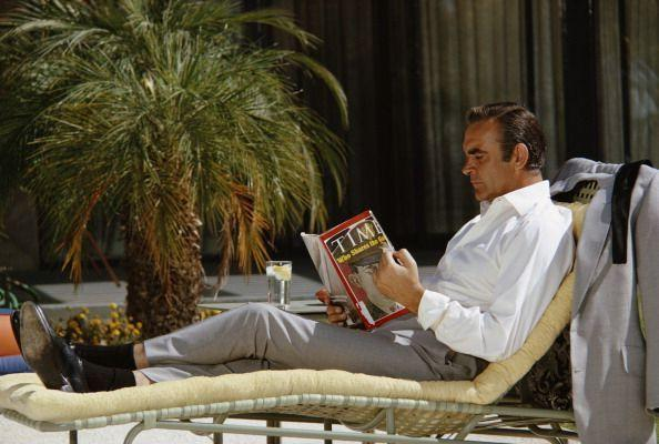 <p>Relaxing on the set of <em>Diamonds Are Forever</em>. </p>