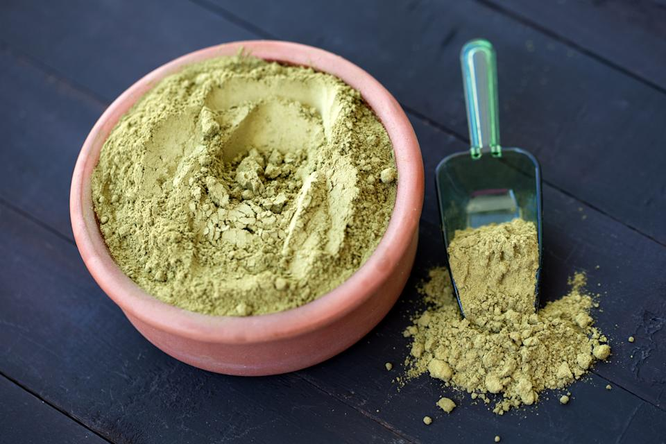 Natural Dry Henna Powder in a Bowl