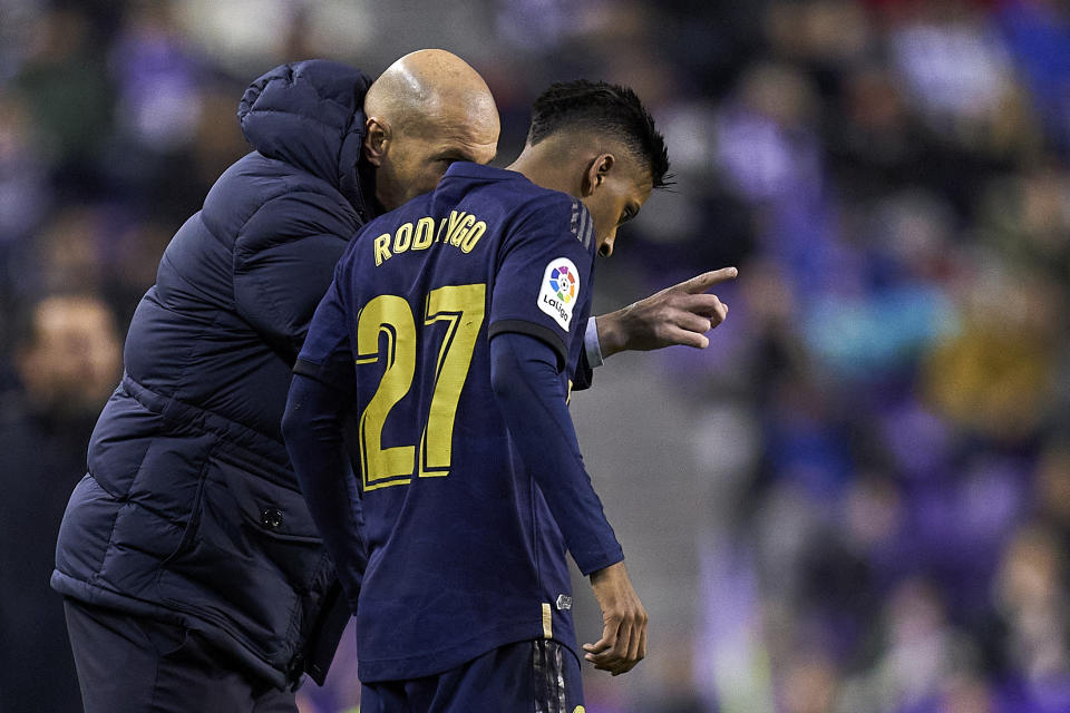 VALLADOLID, SPAIN - JANUARY 26: Zinedine Zidane, Manager of Real Madrid CF giving instructions during the Liga match between Real Valladolid CF and Real Madrid CF at Jose Zorrilla on January 26, 2020 in Valladolid, Spain. (Photo by Quality Sport Images/Getty Images)