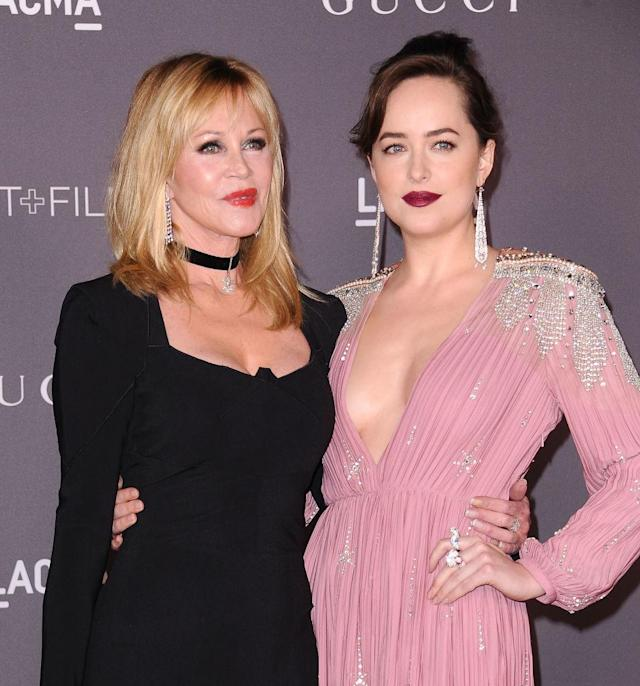 Melanie Griffith and Dakota Johnson photographed on Nov. 4, 2017, in L.A. (Photo: Jason LaVeris/FilmMagic)