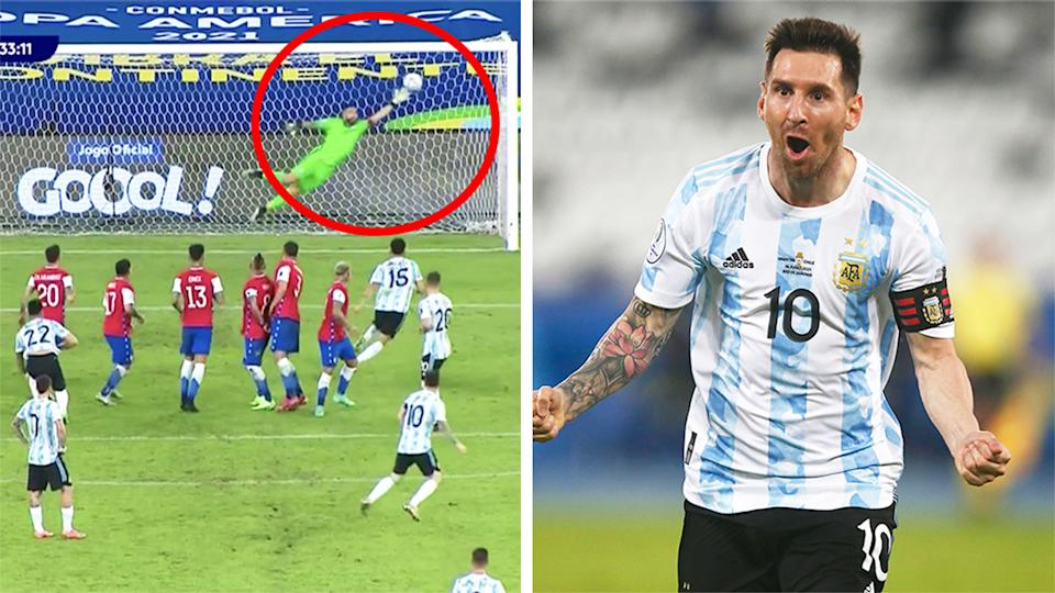 Lionel Messi (pictured right) celebrating after he scored a screamer for Argentina (pictured left).
