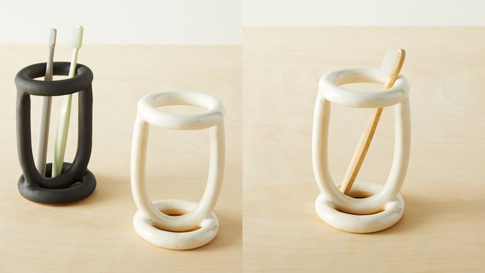 Add some playfulness with this toothbrush holder.