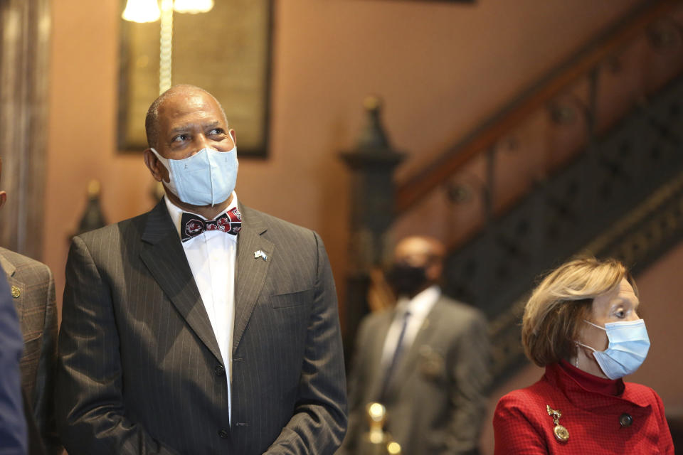 University of South Carolina trustee Alex English watches a broadcast of legislators voting to keep him on the school's board on Wednesday, March 3, 2021, in Columbia, S.C. The former basketball star's election was a rare win for diversity in an overwhelmingly Republican state. (AP Photo/Jeffrey Collins)