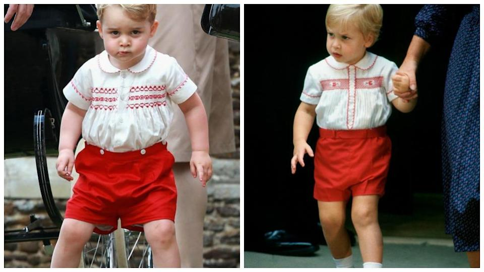 Kate Middleton has obviously taken inspiration from the 80's with George's clothes, as back in 2015 for Princess Charlotte's birthday, Prince George also wore a very similar ensemble to the one Prince William wore back in 1984 following Prince Harry's birth. Photo: Getty Images