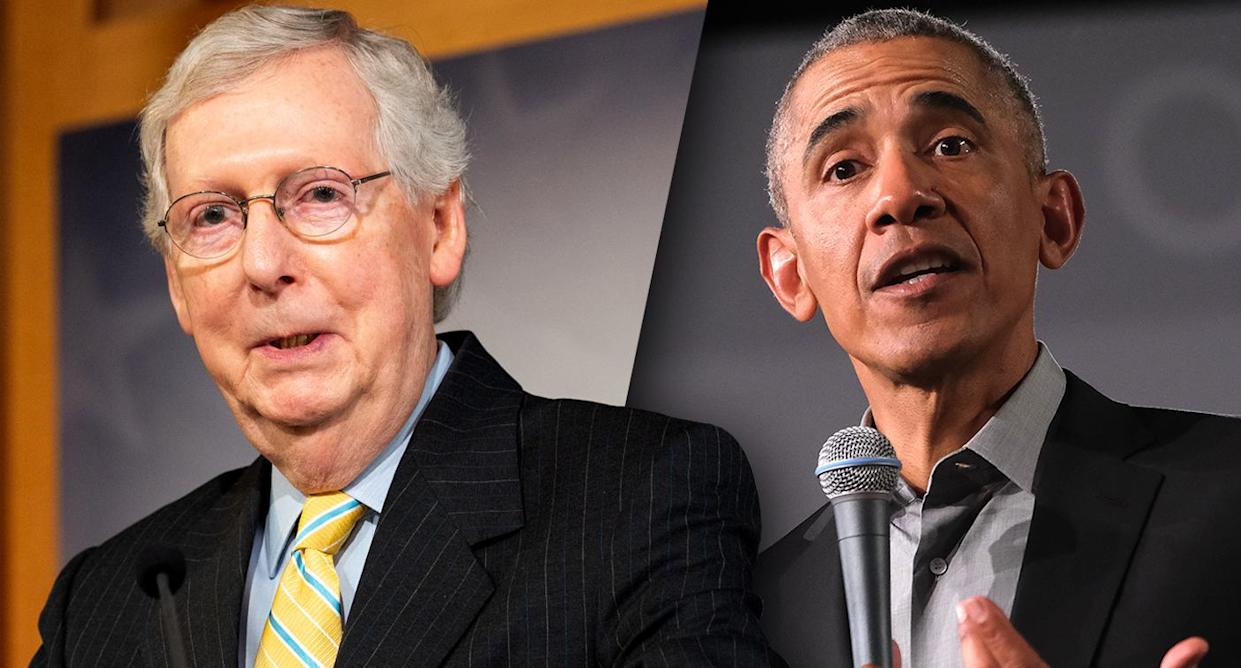 Mitch McConnell and Barack Obama. (Photos: Michael Brochstein/SOPA Images/LightRocket via Getty Images; Sean Gallup/Getty Images)