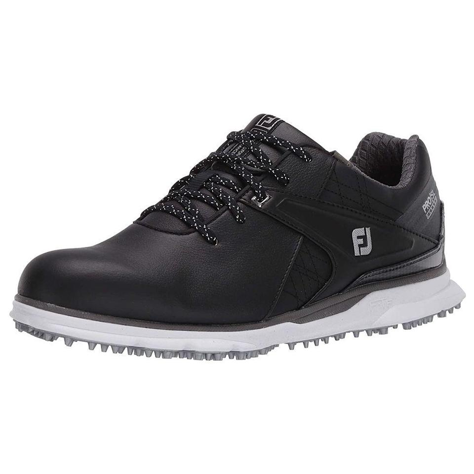 """<p><strong>FootJoy</strong></p><p>amazon.com</p><p><strong>$199.99</strong></p><p><a href=""""https://www.amazon.com/dp/B07TC4MZ9P?tag=syn-yahoo-20&ascsubtag=%5Bartid%7C2139.g.27207975%5Bsrc%7Cyahoo-us"""" rel=""""nofollow noopener"""" target=""""_blank"""" data-ylk=""""slk:BUY IT HERE"""" class=""""link rapid-noclick-resp"""">BUY IT HERE</a></p><p>There's a reason FootJoy has become a go-to brand in the world of golf. A """"laser plus fit"""" gives you a full rounded toe character, standard fit across forefoot and instep, with a slightly narrow heel, meaning you won't have to worry about aching feet or blisters after 18 (or 36) holes.</p>"""