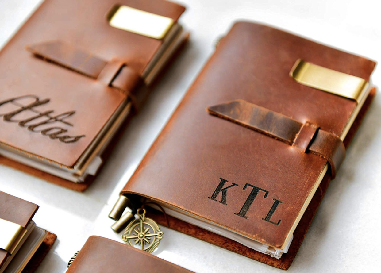 Personalized Distressed Leather Journal by Left Coast Original