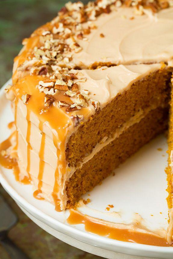 """<p>Pumpkin + salted caramel is the combo you need this fall.</p><p>Get the recipe from <a href=""""http://www.cookingclassy.com/2015/10/browned-butter-pumpkin-cake-with-salted-caramel-frosting/"""" rel=""""nofollow noopener"""" target=""""_blank"""" data-ylk=""""slk:Cooking Classy"""" class=""""link rapid-noclick-resp"""">Cooking Classy</a>.</p>"""