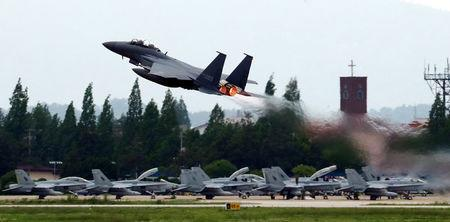 A fighter jet takes off from an airbase in Gwangju