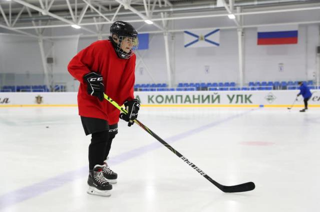 Valentina Fyodorova, 80, the captain of a senior women's hockey team, attends a training session in Bereznik
