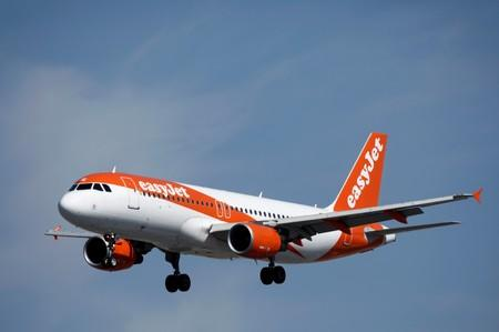 An Airbus A320 aircraft, operated by EasyJet, lands at Orly Airport near Paris