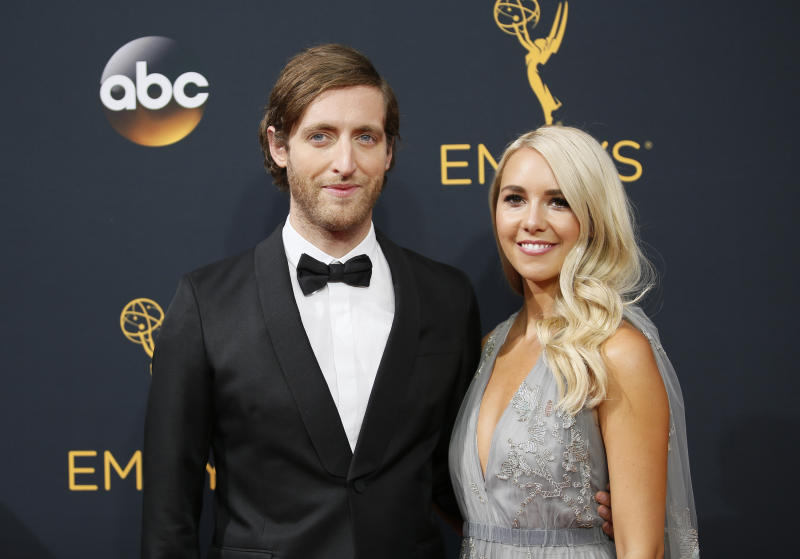 Thomas Middleditch, left, and Mollie Gates arrives at the 68th Primetime Emmy Awards on Sunday, Sept. 18, 2016, at the Microsoft Theater in Los Angeles. (Photo by Danny Moloshok/Invision for the Television Academy/AP Images)