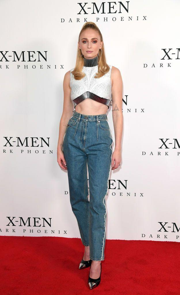 <p>For an X Men: Dark Phoenix fan event in London, Turner kept things casual yet chic in a jeans and crop top combination by Louis Vuitton.</p>