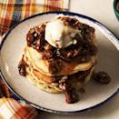 "<p>Tall fluffy <a href=""https://www.delish.com/uk/cooking/recipes/a30413750/perfect-pancakes-recipe/"" rel=""nofollow noopener"" target=""_blank"" data-ylk=""slk:pancakes"" class=""link rapid-noclick-resp"">pancakes</a> get topped with caramelised, sticky pecan drizzle. It's the ultimate breakfast or dessert! Top it with ice cream or whipped cream for an extra indulgence. </p><p>Get the <a href=""https://www.delish.com/uk/cooking/recipes/a35243320/pecan-pie-pancakes-recipe/"" rel=""nofollow noopener"" target=""_blank"" data-ylk=""slk:Pecan Pie Pancakes"" class=""link rapid-noclick-resp"">Pecan Pie Pancakes</a> recipe.</p>"