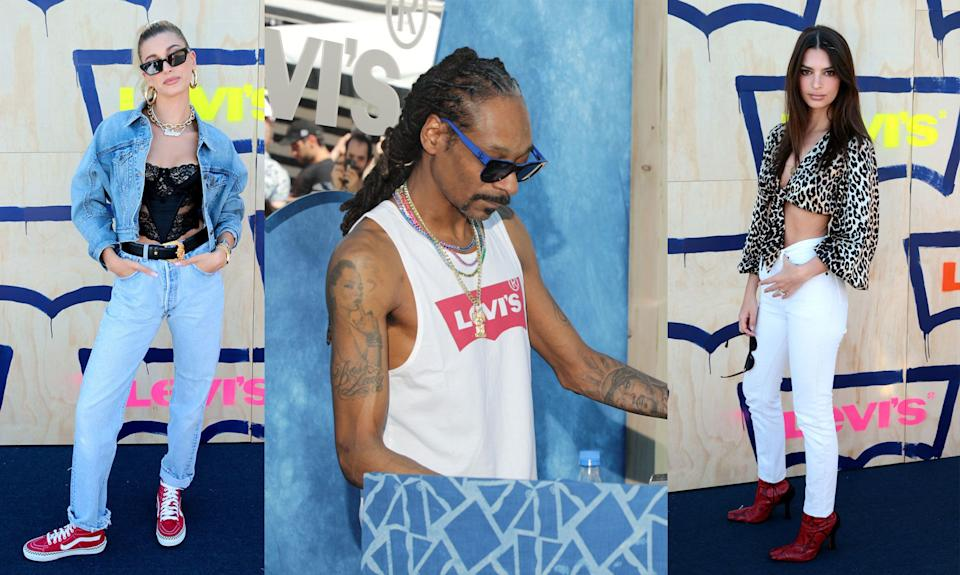 Hailey Bieber, Snoop Dogg and Emily Ratajkowski at Levi's Party in the Desert Coachella event in Indian Wells, CA (Photo: Levi's)