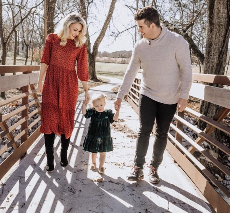 Amanda Wilcox Patterson, her husband, and their two-year-old daughter Adalyn