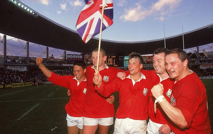 Rory Underwood, Dean Richards, Rob Andrew, Ieuan Evans and Brian Moore all of the British Lions celebrate victory after the third test match against Australia at Sydney Football Stadium in Sydney, Australia. - GETTY IMAGES