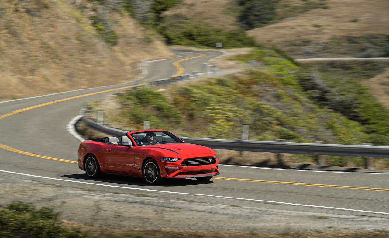 """<p>The 2020 Ford Mustang EcoBoost's optional High Performance and Handling packages help transform the four-banger models into a more powerful and better-handling pony car. Read the full story <a href=""""https://www.caranddriver.com/reviews/a29145957/2020-ford-mustang-ecoboost-high-performance-drive/"""" target=""""_blank"""">here</a>.</p>"""