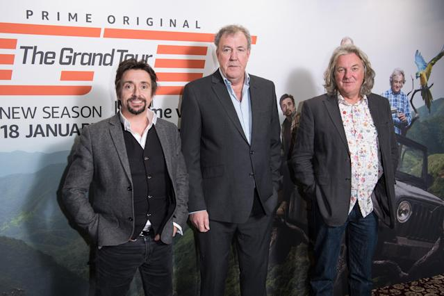 Richard Hammond, Jeremy Clarkson and James May attend a screening of 'The Grand Tour' season 3 held at The Brewery on January 15, 2019 in London, England. (Photo by Jeff Spicer/WireImage)