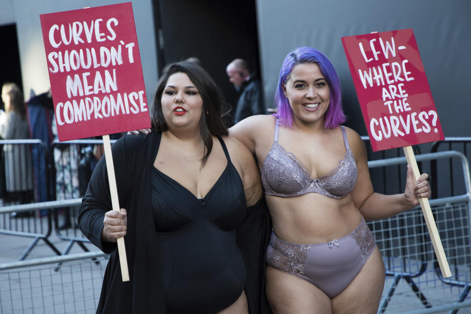 Models, diversity campaigners and social media influencers protest the lack of female curves in the fashion industry outside 180 Strand in London, Friday, Feb. 16, 2017.(Photo by Vianney Le Caer/Invision/AP)