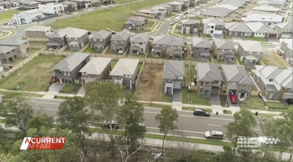 An aerial view of Bishnu Aryal's house among other builds on his street in Edmondson Park.