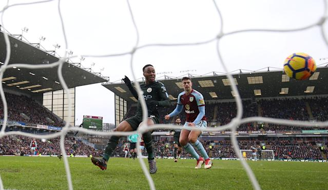 "Soccer Football - Premier League - Burnley vs Manchester City - Turf Moor, Burnley, Britain - February 3, 2018 Manchester City's Raheem Sterling misses a chance to score Action Images via Reuters/Jason Cairnduff EDITORIAL USE ONLY. No use with unauthorized audio, video, data, fixture lists, club/league logos or ""live"" services. Online in-match use limited to 75 images, no video emulation. No use in betting, games or single club/league/player publications. Please contact your account representative for further details."