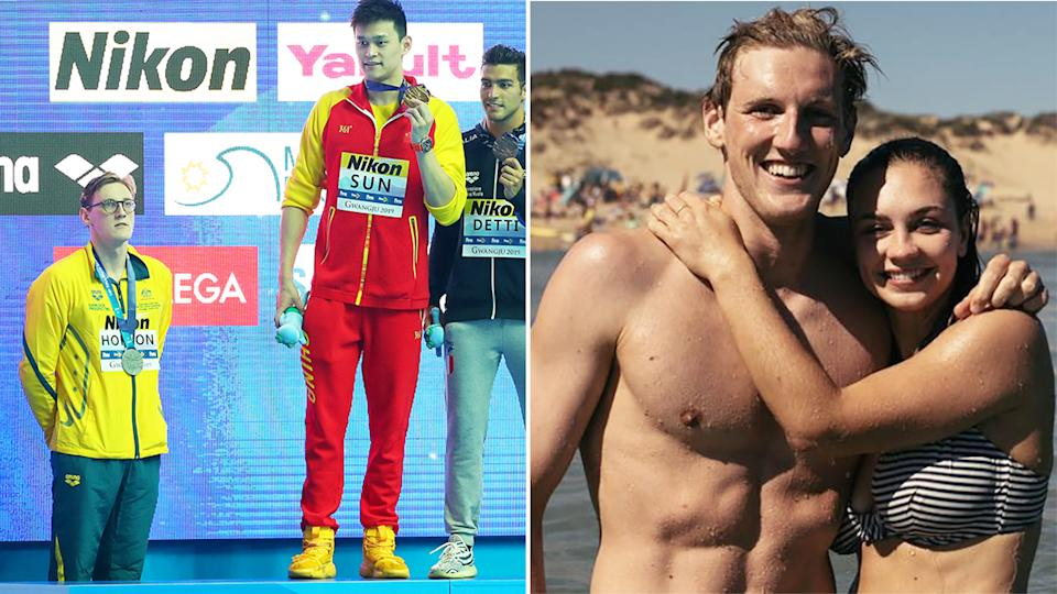 A 50/50 split image show's Mack Horton's 2019 podium protest against Sun Yang (left) next to an image of himself and his girlfriend.